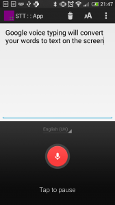 STT::App running in android phone